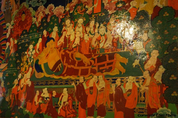 Murals Inside Thandruk Monastery. On this mural the the reclining Buddha is depicted.