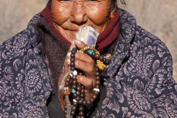 Portrait of an elderly lady at Kamadang Temple