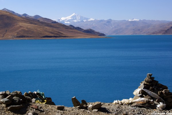 Yamdrok Tso Lake with on the background the big snow mountain Nojin Kangtsang