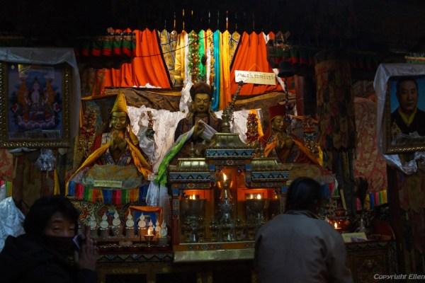 Inside the Ganden Lakhang hall at Pelkor Chöde Monastery