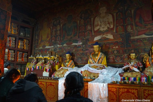 Pilgrims at Shalu Monastery. Shalu is famous for it's murals dating back to the 14th century and they survived the destruction of the cultural revolution
