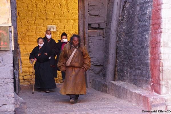 Pilgrims visiting Sakya Monastery