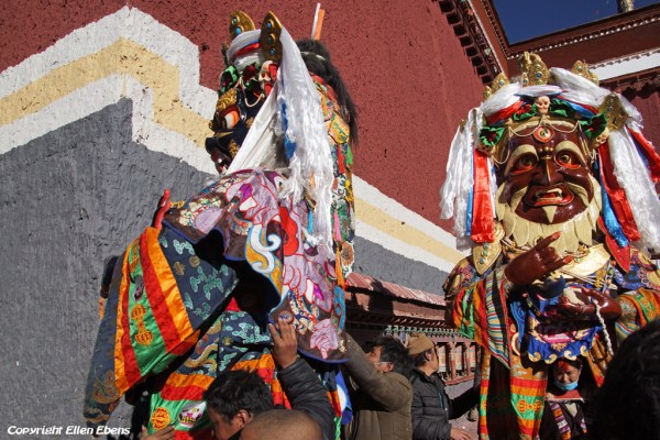 Festival time in Sakya Monastery. The big statues are taken out of the chapels and made ready for dancing.