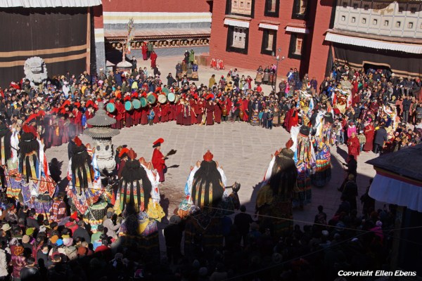 Festival time in Sakya Monastery, dancing with the big statues