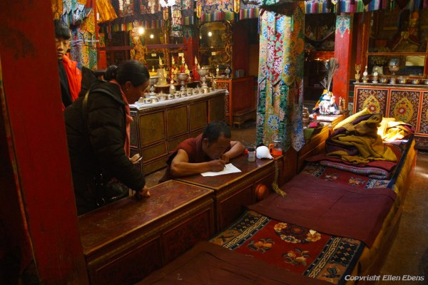 Inside the assembly hall of Narthang Monastery