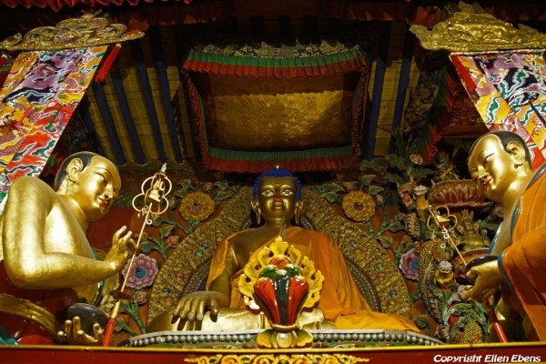 Inside a hall at Tsurphu Monastery