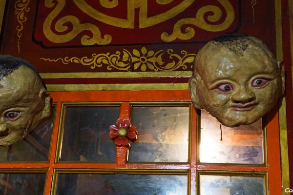 Masks at Tsurphu Monastery
