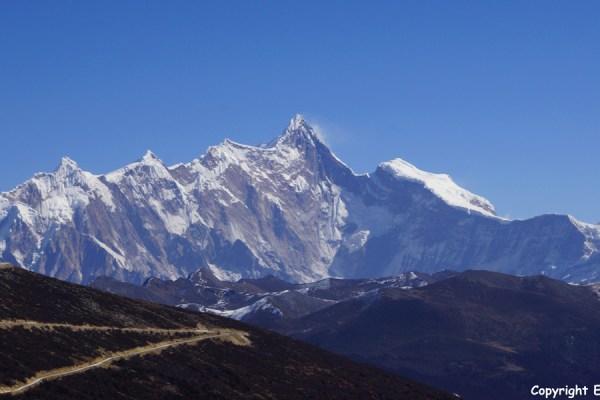 View on the Namcha Bawa mountain (7,782 meter) from the Sejila Mountain Pass
