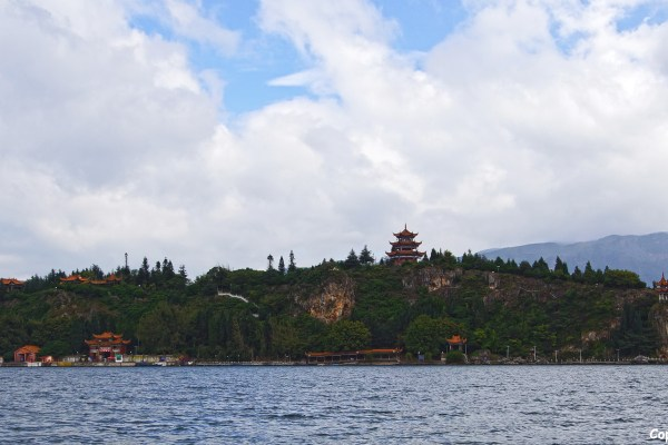 Island with a temple on it in Fuxian Lake