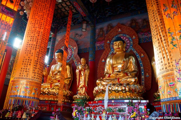 One of the many temple complexes on Jizu Shan, Buddha statues