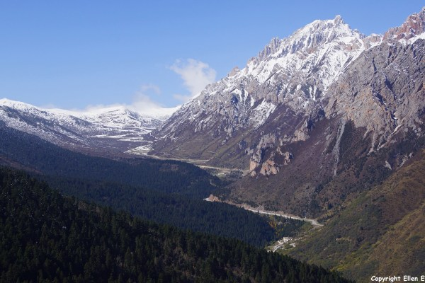 Huanglong NP: the high pass seen from the park