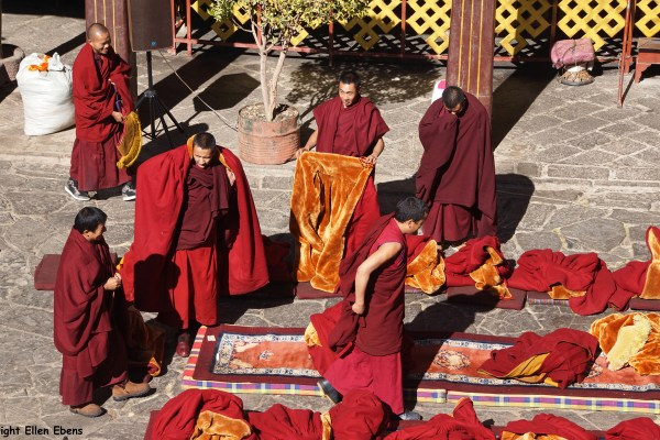 Lhasa, monks debating at the court yard of the Jokhang Temple.
