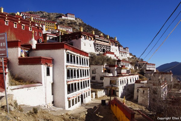 Ganden Monastery, situated about 50 km northeast of Lhasa.
