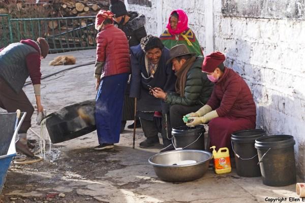 Tidrum Nunnery. Nuns cooking dinner.