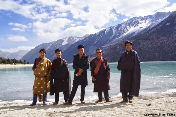 A group of Tibetan men visiting Ranwu lake in eastern Tibet