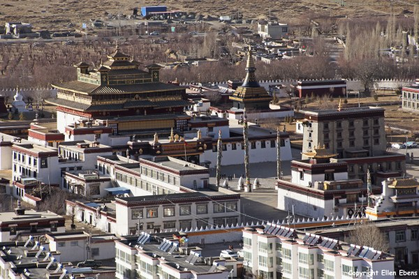 View from the Hepo Ri hill on Samye and Samye Monastery