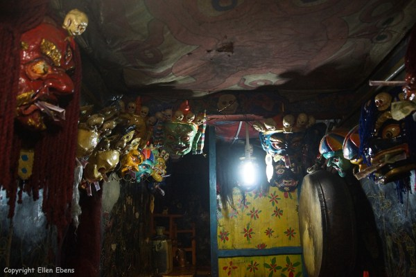 Room with masks inside Samding Monastery