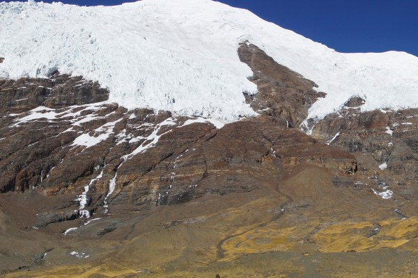 At the Karo La pass with the beautiful glaciers of Mount Nonjing Katsang