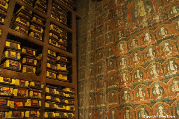 Old murals and books inside the Main Assembly Hall of Pelkor Chode Monastery