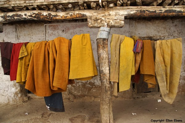 Monks clothes hanging out at Tashilhunpo Monastery, Shigatse