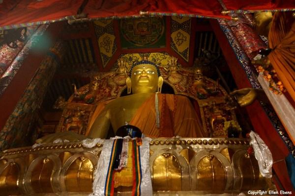 The 20 meter high statue of Buddha Sakyamuni at Tsurphu Monastery