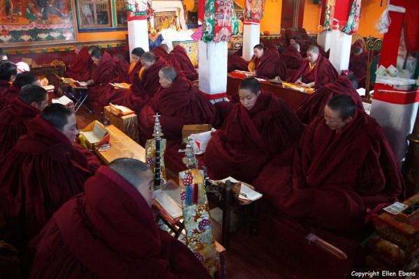 Nuns at the assembly hall of Garu Nunnery