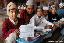 Boys at the Taj-ul-Masjid Mosque in Bhopal