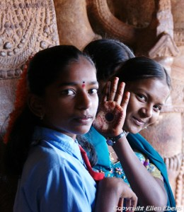 Schoolgirls at the village of Badami