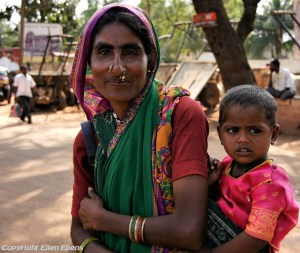 Mother and child at the village of Badami
