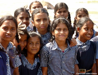 Schoolgirls on the beach of Gokarna