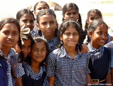Schoolgirls on the beach of Gokarna