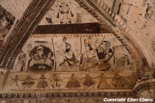 Beautiful ceiling and wall paintings in the Lakshmi Naryan Temple, Orccha