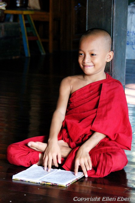 Young monk at the monastery behind the Chauk Htat Gyi Pagoda, Yangon