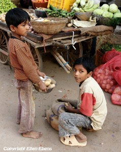 Young boy buying potatoes