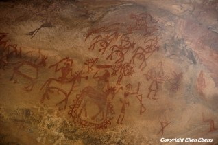 Stone Age rock paintings at the Bhimbetka rock shelters are approximately 30,000 years old. They were declared a World Heritage Site in 2003.