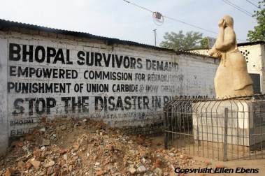 The memorial monument for victims the toxic gas disaster in 1984 in the city of Bhopal