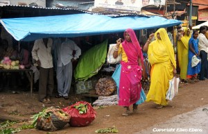 Market on a rainy day in the city of Dhar