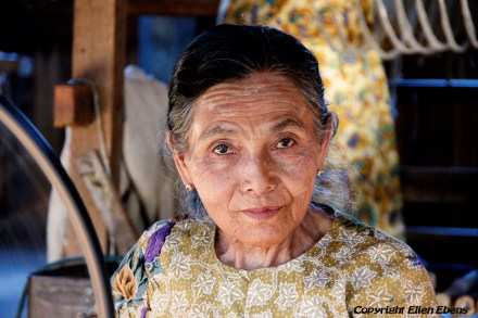Woman at a weaving mill, Inle Lake
