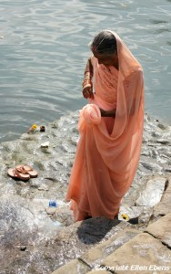 Woman at the river at Omkareswar