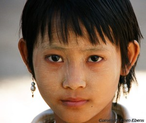 Girl at the caves of Hpo Win Daung near Monywa