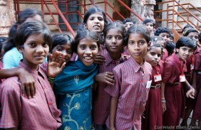 Schoolchildren at the Virupaksha temple of Hampi