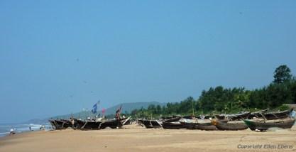 Fishing boats at the beach of Gokarna