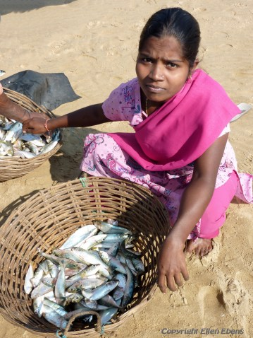 Woman with fish at the beach of Gokarna