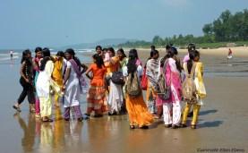 Schoolgirls at the beach of Gokarna