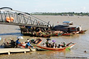 Boats on the river at the city of Yangon