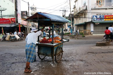 Bago, street life in the early morning after a rainy night