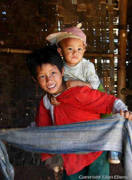 On the road from Kalaw to Pindaya, a boy with his little brother