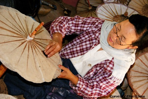Pindaya, making paper umbrellas