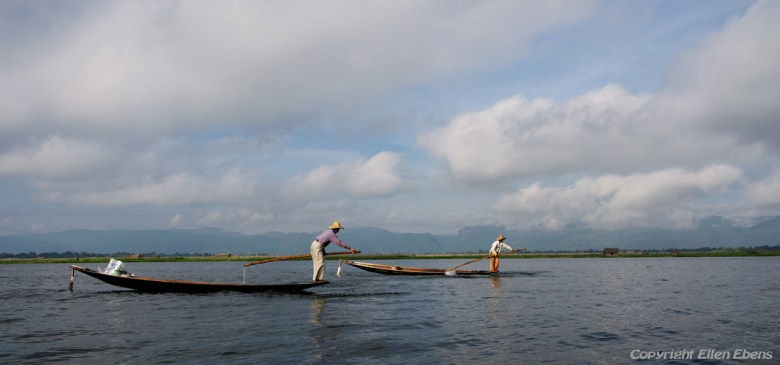 Leg rowing fishermen on Inle Lake