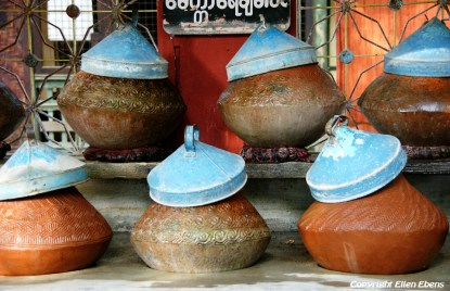 Amarapura, water pitchers at the Mahagandayon Kyaung Monastery